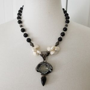 Jewelry - Faceted Black Bead & Pearl Sterling Necklace - 16""